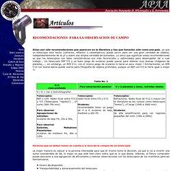 Recomendaciones para la observacion de campo - Asociacion Panamena de Aficionados a la Astronomia