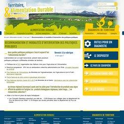 Recommandation et modalités d'intervention des politiques publiques - Territoire, Alimentation durable & Diagnostic