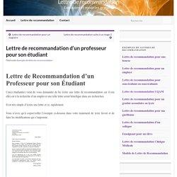 Lettre de recommandation d'un professeur pour son étudiant – Lettre de recommandation