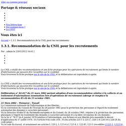 1.3.1. Recommandation de la CNIL pour les recrutements