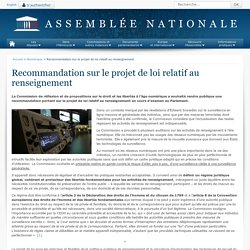 Recommandation sur le projet de loi relatif au renseignement - Numérique