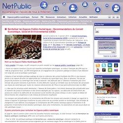 Revitaliser les Espaces Publics Numériques : Recommandations du Conseil Economique, Social et Environnemental (CESE)
