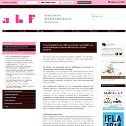 Recommandations de l'ABF concernant l'application pour les bibliothèques du décret réformant les rythmes scolaires