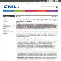 Les recommandations du G29 sur les applications mobiles pour smartphones ou tablettes