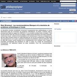 Rémi Brissiaud : Les recommandations Blanquer et la résolution de problèmes arithmétiques à l'école