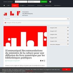 [Communiqué] Recommandations du ministère de la culture pour une diffusion du livre numérique par les bibliothèques publiques