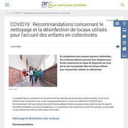 COVID19 : Recommandations concernant le nettoyage et la désinfection de locaux utilisés pour l'accueil des enfants en collectivités