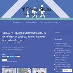 Synthèse en 12 pages des recommandations de la Conférence de consensus sur l'enseignement de la lecture du Cnesco – REP+ de Stains