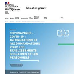 9 - COVID-19 : recommandations pour les établissements scolaires