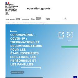 COVID-19 : recommandations pour les établissements scolaires