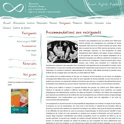 Recommandations aux enseignants - Association Elisabeth d'Ornano para el Trouble de déficit de l'attention/hyperactivité (TDAH)