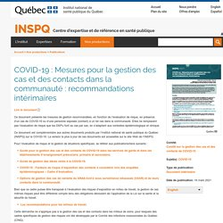 Mesures pour la gestion des cas et des contacts dans la communauté : recommandations intérimaires / INSPQ, mars 2021