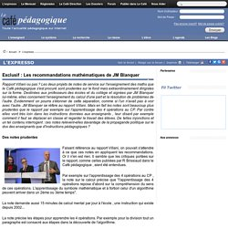 Exclusif : Les recommandations mathématiques de JM Blanquer