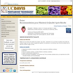 UNIVERSITY OF CALIFORNIA 22/02/13 Fraise: Recommandations pour maintenir la qualité après récolte