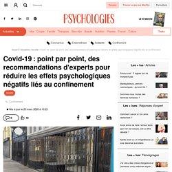 Covid-19: des recommandations d'experts pour réduire les effets psychologiques négatifs liés au confinement