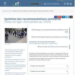 Synthèse des recommandations sanitaires (Notes du Sgec réactualisées au 10/09)