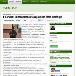 T. Karsenti: 20 recommandations pour une école numérique