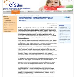 Recommandations de l'EFSA en matière de prévention et de réduction des maladies animales transmissibles à l'homme (zoonoses)