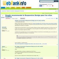 Google recommande le Responsive Design pour les sites mobiles