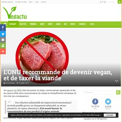 L'ONU recommande de devenir vegan, et de taxer la viande – Vegactu
