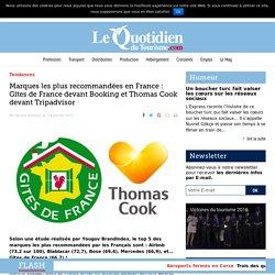 Marques les plus recommandées en France : Gîtes de France devant Booking et Thomas Cook devant Tripadvisor – Le Quotidien du Tourisme