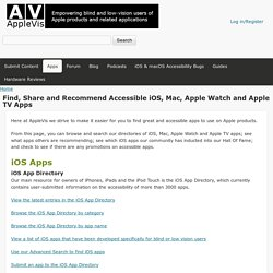 Find, Share and Recommend Accessible iOS, Mac, Apple Watch and Apple TV Apps