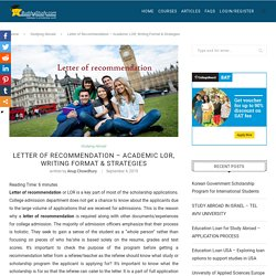 Letter of recommendation - Academic LOR, Study abroad admission