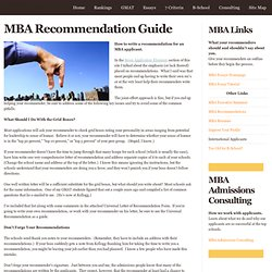 MBA Recommendation Guide at MBA Applicant.com MBA Letter of Recommendation