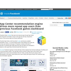 App Center recommendation engine drives more repeat app users than previous Facebook games dashboard
