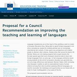 Proposal for a Council Recommendation on improving the teaching and learning of languages
