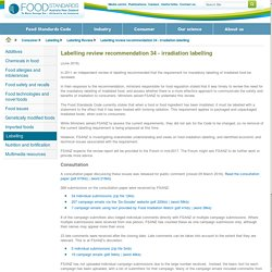 FOODSTANDARDS_GOV_AU - JUNE 2016 - Labelling review recommendation 34 - irradiation labelling