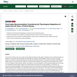 Fluid Intake Recommendation Considering the Physiological Adaptations of Adults Over 65 Years: A Critical Review
