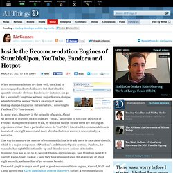 Inside the Recommendation Engines of StumbleUpon, YouTube, Pandora and Hotpot