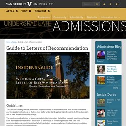 Guide to Letters of Recommendation