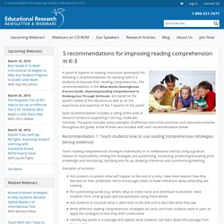 5 recommendations for improving reading comprehension in K-3