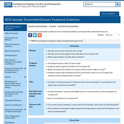 STD Screening Recommendations - 2015 STD Treatment Guidelines