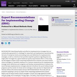 Expert Recommendations for Implementing Change (ERIC): Protocol for a Mixed Methods Study
