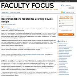 Recommendations for Blended Learning Course Design