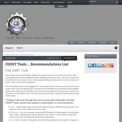 OSINT Tools - Recommendations List