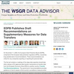 EDPB Publishes Draft Recommendations on Supplementary Measures for Data Transfers