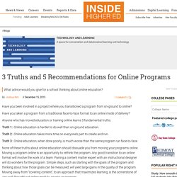 3 Truths and 5 Recommendations for Online Programs