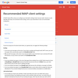 Recommended IMAP client settings - Gmail Help