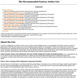 The Recommended Fantasy Author List