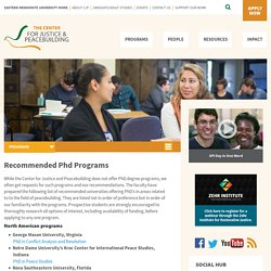 Recommended PhD Programs - Center for Justice & Peacebuilding