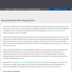 Recommended Data Repositories : Scientific Data