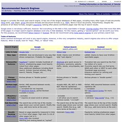 Recommended Search Engines-The Library-University of California