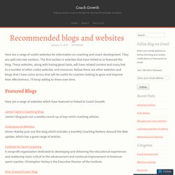 Recommended blogs and websites