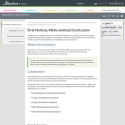 Education for Reconciliation - First Nations, Métis & Inuit Curriculum - Overview