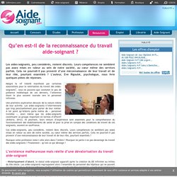 Qu'en est-il de la reconnaissance du travail aide-soignant ? - Actualités - Ressources - Aide-soignant.com