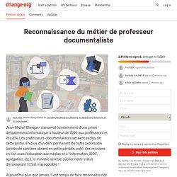 Petition · Reconnaissance du métier de professeur documentaliste